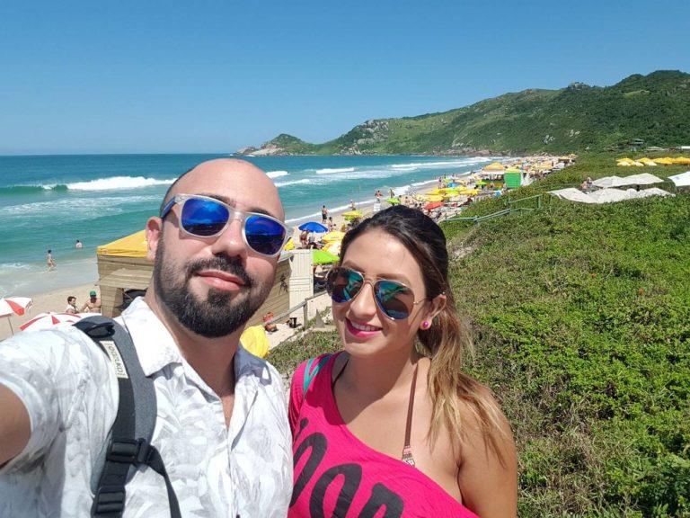 Mauro and Bibi taking a Selfie at Praia Mole