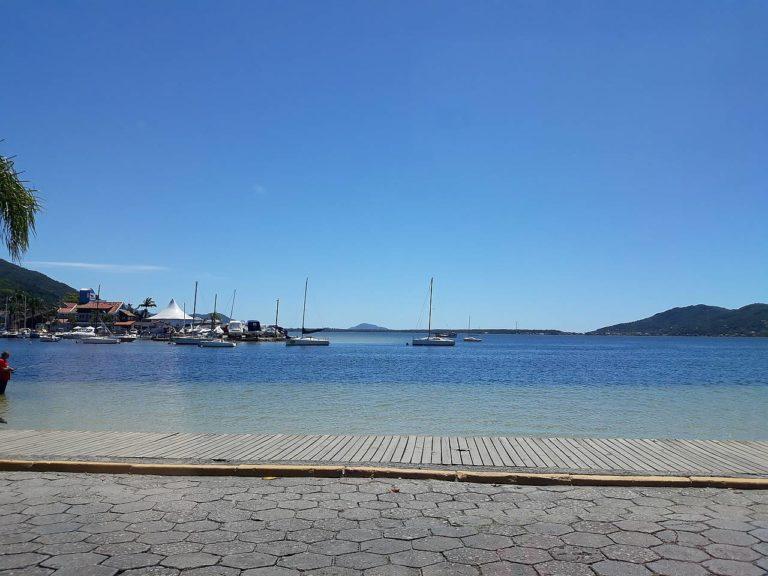 Lagoa da Conceição with emphasis on the blue colors of the sky and the lagoon