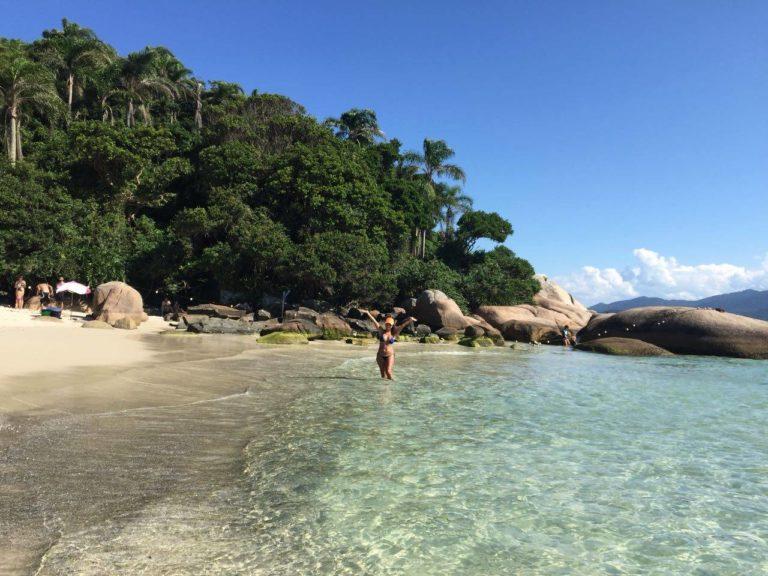 Bibi in the clear waters of Campeche Island