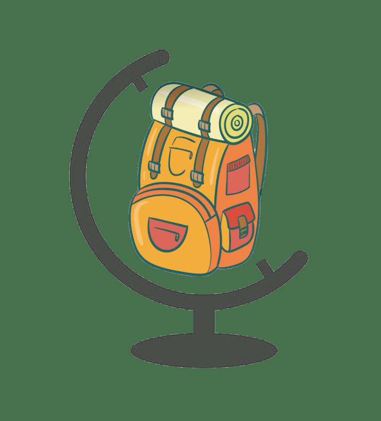 Mochila de viajero que reemplaza la figura de la tierra en un globo terrestre