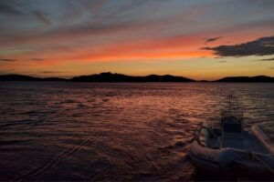 Sunset view from a boat in Tisno Croatia