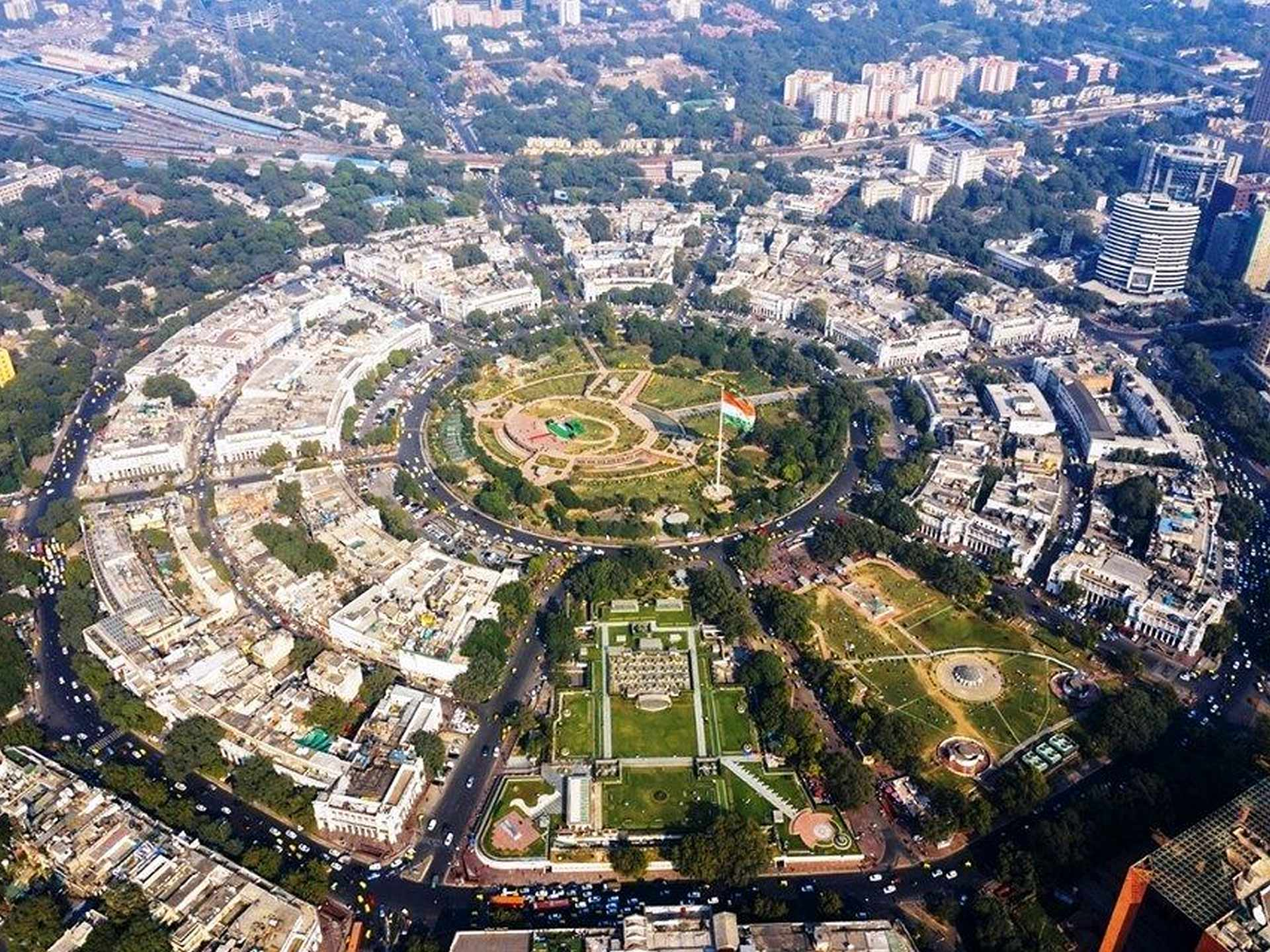 Aerial view of Connaught Place