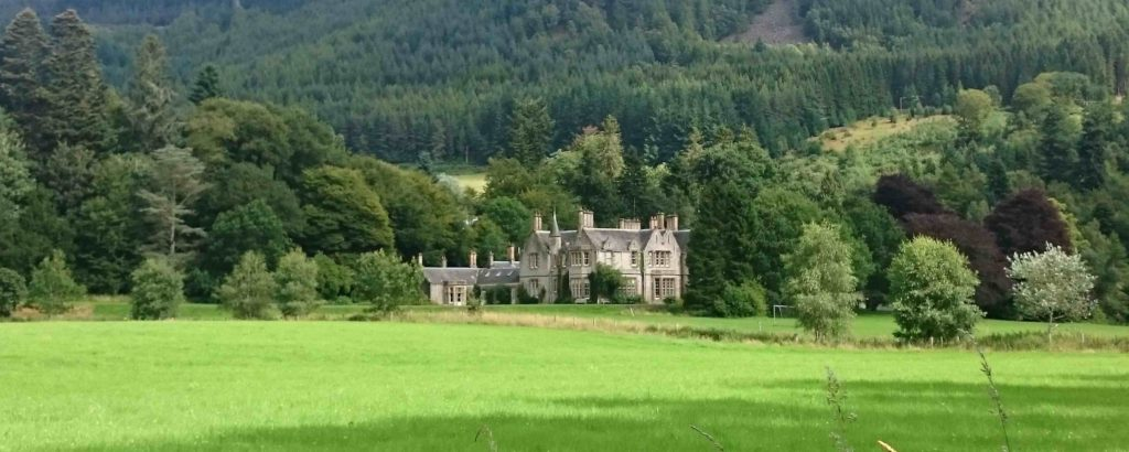 Palace amid a vast area of countryside and woods in Scotland